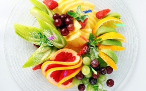 Картинка лимон, apple, яблоко, киви, клубника, виноград, lemon, фрукты, ананас, банан, мята, грейпфрут, блюдо, banana, grapes, …