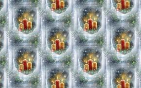 Картинка зима, фон, праздник, текстура, свечи, окно, арт, Новый год