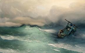 Картинка море, волны, шторм, корабль, бедствие