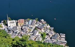 Картинка здания, Австрия, панорама, Austria, Hallstatt, Гальштатское озеро, Гальштат, Lake Hallstatt