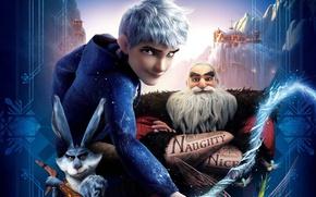 Картинка мультфильм, фэнтези, DreamWorks, Санта-Клаус, Пасхальный кролик, Ледяной Джек, Зубная фея, Хранители Снов