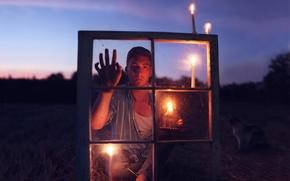 Обои настроение, свечи, окно, парень