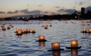 Обои память, река, свечи