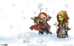 Картинка снег, новый год, World of Warcraft, кароль вариан рин, тррал
