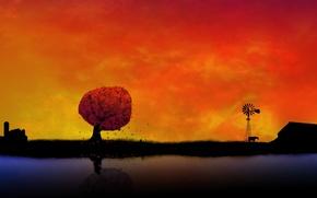 Обои закат, оранжевый, фон, обоя, село
