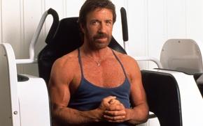 Картинка взгляд, спортсмен, актёр, легенда, actor, muscle, мышцы, view, Chuck Norris, Чак Норрис, legend, тренажер, athlete, …