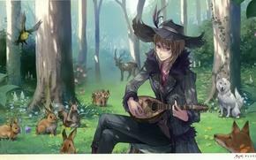 Картинка лес, волк, шляпа, олень, зайцы, лисы, art, музыкальный инструмент, atelier rorona, mel kishida, tantoris