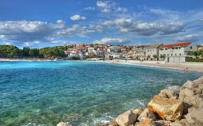 Обои море, Примоштен, Хорватия, дома, город, бухта