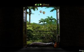 Картинка Крокодил, Двери, Джунгли