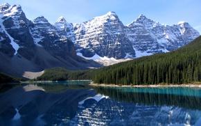 Обои озеро, канада, горы, лес