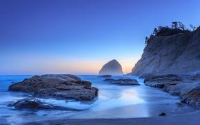 Картинка песок, скала, камни, океан, рассвет, берег, Орегон, USA, США, Oregon, Pacific City