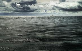 Картинка вода, океан, корабль, горизонт