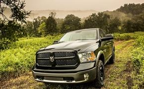 Картинка Dodge, black, road, truck, 1500, Ram, vegetation, hemi, HEMI, 5.7-liter