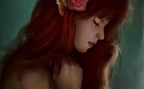 Картинка цветок, девушка, эльф, роза, арт, профиль, рыжая, эльфийка, уши