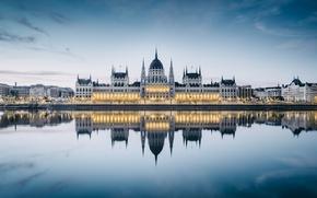 Картинка вода, отражение, река, Парламент, архитектура, Будапешт