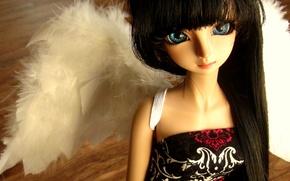Картинка кукла, брюнетка, голубые глаза, doll, BJD