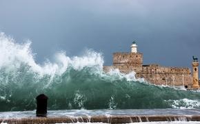 Обои маяк, море, волны
