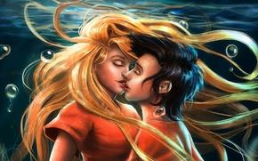 Картинка девушка, любовь, поцелуй, пара, парень