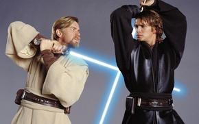 Картинка Звездные войны, сражение, оби-ван и энакин