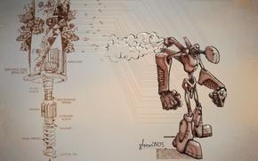 Обои механизм, схема, робот