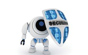Картинка абстракция, один, робот, защита, арт, код, щит, robot, андроид, ноль, android, держит, shield, wallpaper., technology, …