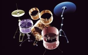 Обои музыка, инструменты, рентген, барабаны