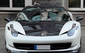 Картинка тюнинг, черно-белая, феррари, вид спереди, Ferrari 458 Italia, Anderson Germany
