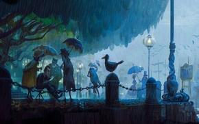 Картинка птицы, парк, люди, дождь, улица, вечер, арт, фонарь, зонты