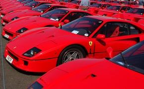 Картинка Красный, Авто, Машина, Феррари, Машины, Красные, Ferrari, F40, Много, Суперкар, Silverstone, Supercar, Ferrari F40, F …