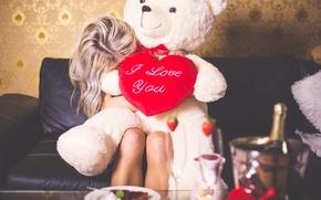 Картинка подарок, сердце, медведь, блондинка