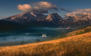 Картинка горы, туман, дом