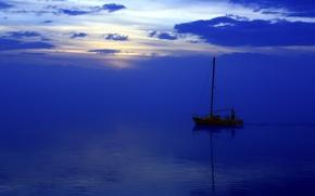 Обои море, пейзаж, ночь, лодка