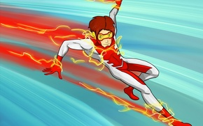 Обои фантастика, арт, бегун, dc comics, Young Justice, Impulse, Bart Allen