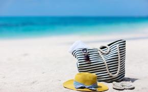 Картинка песок, море, пляж, лето, небо, природа