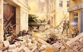 Картинка смысл, арт, солдаты, танк, руины, сражение, захват, операция, поддержка, военная, в городе, Шерман, Sherman, WW2., …