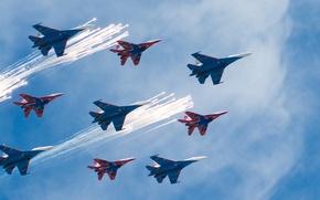 Картинка небо, истребители, Авиация, стрижи, Русские витязи