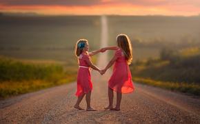Обои дорога, танец, простор, дети, девочки