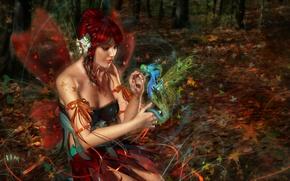 Обои дракон, фея, крылья, рыжая, девушка, 3d art, лес