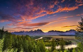 Картинка лес, небо, деревья, закат, горы, река, вечер, Вайоминг, сосны, USA, США, Wyoming, национальный парк, Гранд-Титон, …