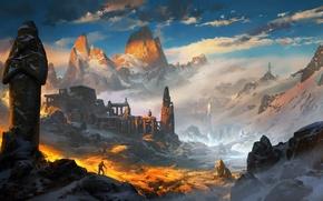 Картинка горы, фентези, арт, ling xiang