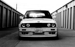 Картинка BMW, white, E30, stance