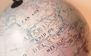 Картинка мир, карта, Канада, Америка, глобус