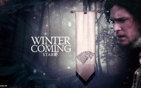 Обои Игра престолов, флаг, снег, зима, волк, Game of Thrones, Старк, Джон Сноу, Бран, девиз