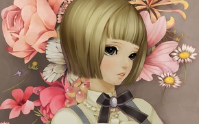 Обои цветы, арт, лицо, ромашки, пионы, девушка, бабочка, dong xiao