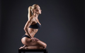 Картинка model, pose, female, fitness, dumbbell, toned body, sculpted