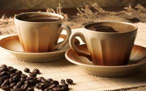 Обои кофе, зерна, чашки, блюдца, coffee
