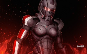 Картинка fire, mass effect, shepard, armour, female
