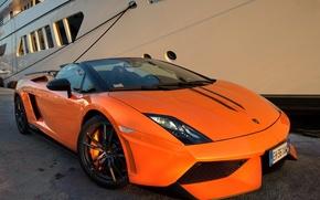 Картинка Lamborghini, Gallardo, supercar, Spyder, front, orange, LP570-4, Performante