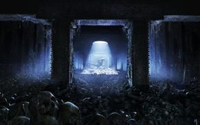 Картинка паутина, чужой, арт, черепа, заброшенность, помещение, kev jenkins, Alien vs Predator