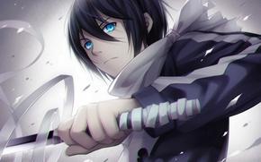 Картинка оружие, катана, аниме, арт, парень, бинты, tidsean, yato, Noragami